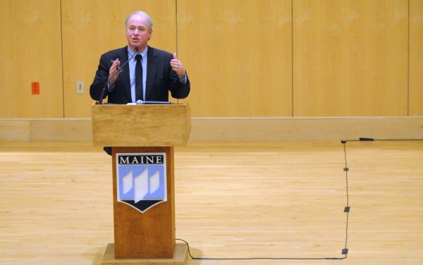 University of Maine System Chancellor James Page speaks during a forum at the Orono campus discussing the budget cuts.