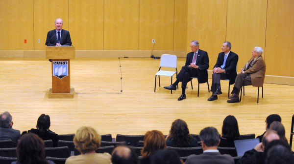University of Maine System Chancellor James Page (left) speaks during a forum at the Orono campus discussing the budget cuts. Also pictured are University of Maine president Paul Ferguson and UMS trustees Gregory Johnson and Samuel Collin.