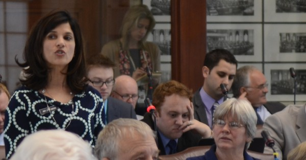 Rep. Sara Gideon, D-Freeport, speaks Monday about her bill to expand the availability of Narcan, a drug that can reverse a heroin overdose, during a floor speech in the House of Representatives.