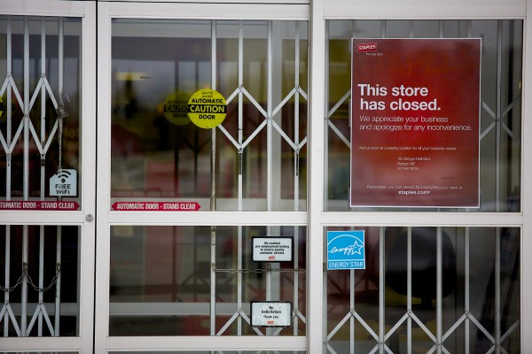 Office supply store Staples is closed at the Airport Mall in Bangor.