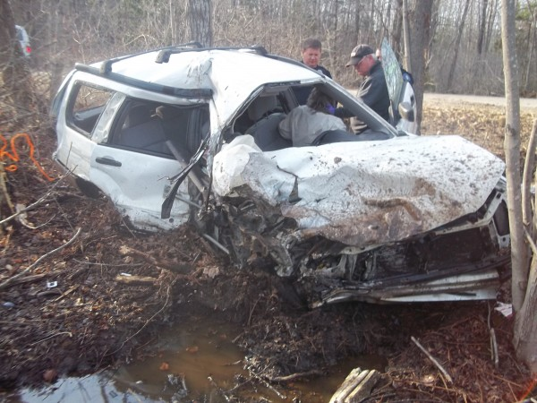 Police said that driver Jacqueline Low of Orland is estimated to have reached speeds of 100 mph Thursday afternoon before she lost control of her Subaru Forester on Back Searsport Road in Belfast.
