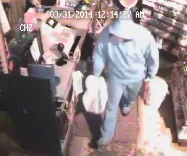 During the early morning hours of March 31, someone smashed their way through the front door of Handy Stop, located at 2 Bridge St. in Howland. The subject seen in the video took items from behind the counter before leaving through the same door.
