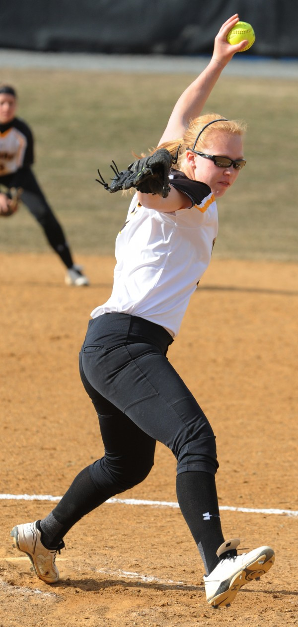 University of Maryland Baltimore County pitcher Taylor Hall delivers a pitch to a UMaine player on Friday at Orono.