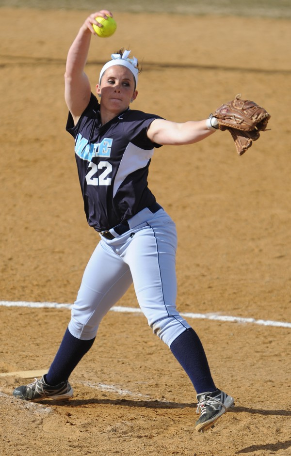 The University of Maine's Hannah Hill delivers a pitch against University of Maryland Baltimore County on Friday at Orono.