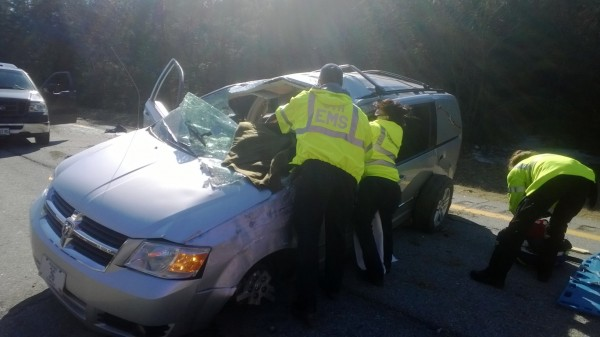 The driver of this hearse suffered minor injuries Thursday afternoon when he apparently fell asleep at the wheel. The crash temporarily shut down traffic in the northbound lanes of Interstate 95 in Pittsfield.