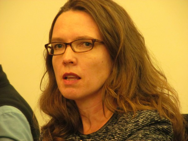 Jennifer Hutchins, head of the organization Creative Portland, discusses the importance of a strong University of Southern Maine during a Wednesday news conference at City Hall. Also taking part in the event were Portland Mayor Michael Brennan, Portland Regional Chamber of Commerce CEO Chris Hall and Mark Swann, executive director of the homeless service provider Preble Street.