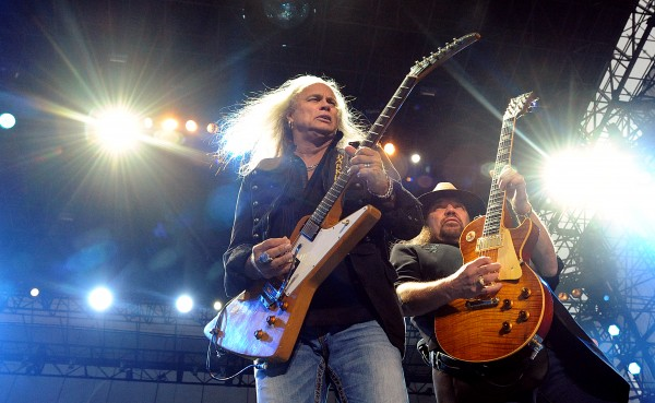 Rickey Medlocke (left) and Gary Rossington, members of Southern rock band Lynyrd Skynyrd, perform on the Bangor Waterfront in 2011.