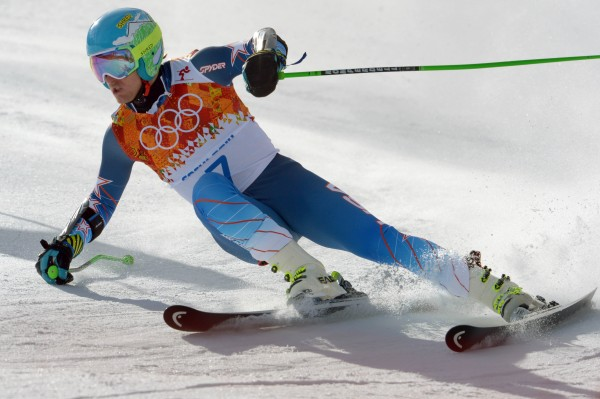 Ted Ligety (USA) on his first run in the giant slalom during the Sochi 2014 Olympic Winter Games at Rosa Khutor Alpine Center.