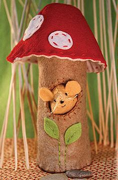 A mouse in its home created from one of Heidi Boyd's craft kits. The kits will soon be available on Martha Stewart's American Made Marketplace eBay shop and at Barnes & Noble.