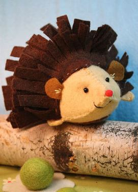 A porcupine created from one of Heidi Boyd's craft kits. The kits will soon be available on Martha Stewart's American Made Marketplace eBay shop and at Barnes & Noble.