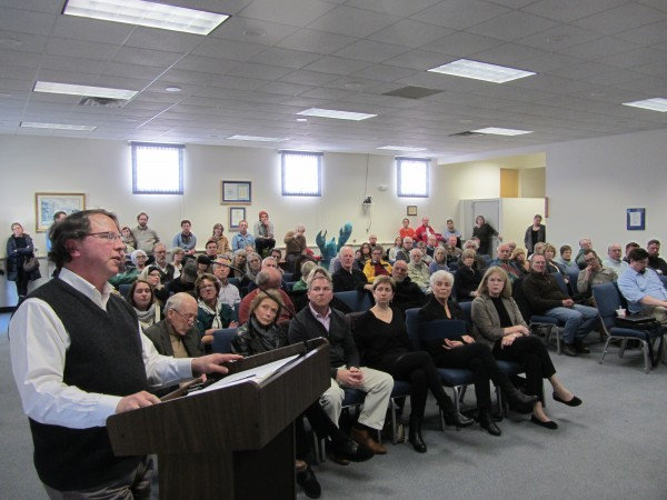 Architect Gerald Weinand of Rockland speaks out Tuesday night during a public hearing about the proposed new Center for Maine Contemporary Art complex on Winter Street. Weinand said the project meets the standards in the Rockland design standard law.