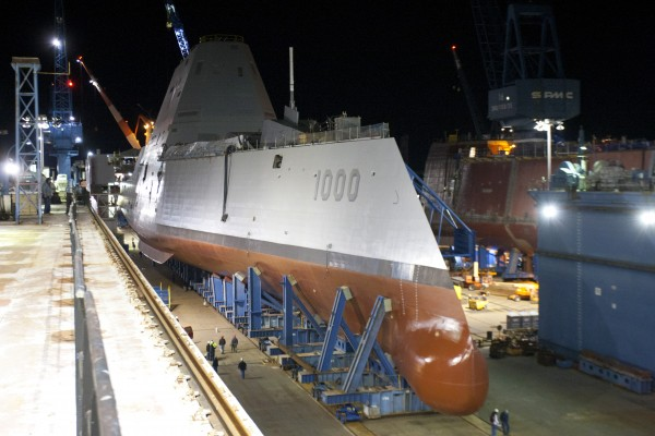The USS Zumwalt, the nearly $4 billion stealth destroyer built by Bath Iron Works.