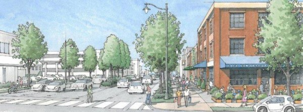 A consulting planner's rendering of what Main Street in Bangor might look like after a series of infrastructure projects starting this summer.