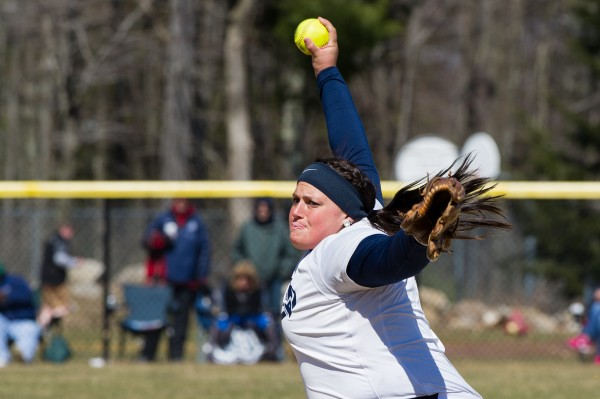 Tayla Trask of St. Anselm College delivers a pitch during a 2013 softball game. The junior is 10-0 this season with a 0.71 earned run average.
