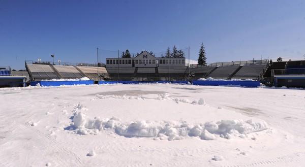 Mahaney Diamond at the University of Maine in Orono, was still mostly covered in snow on March 27. Northern Maine high schools are facing an uphill battle to get their baseball and softball facilities ready before the season opens in one week.