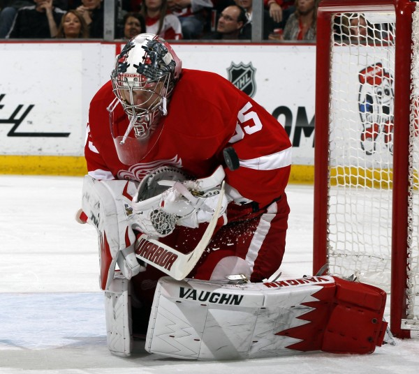 Former University of Maine All-America goaltender Jimmy Howard, pictured in an April 11 game, leads the Detroit Red Wings into their NHL Eastern Conference playoff series against the Boston Bruins beginning Friday night at TD Garden.