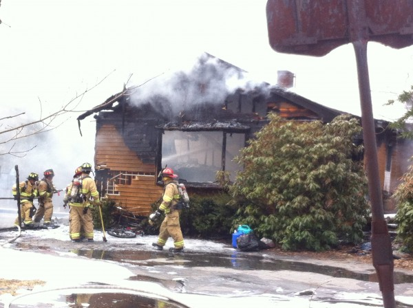 A fire Tuesday afternoon destroyed a single-family home on Gurnet Road in Brunswick.