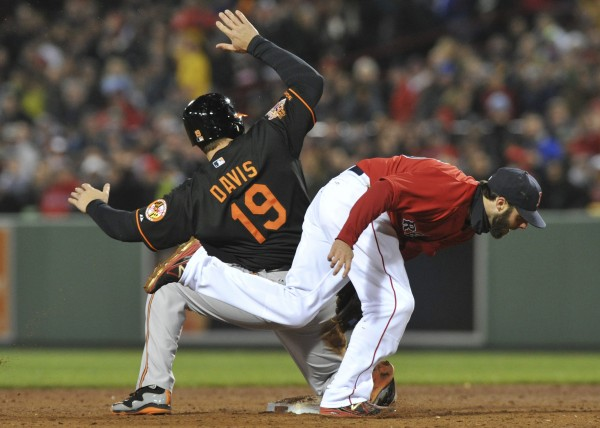 Chris Davis (19) of Baltimore slides past the tag of Boston Red Sox second baseman Dustin Pedroia (15) during the third inning of Friday night's game at Fenway Park in Boston. The Orioles won 8-4.