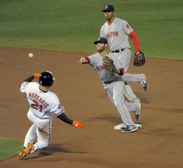 Boston Red Sox shortstop Xander Bogaerts, top, watches second baseman Dustin Pedroia throw over the Baltimore Orioles' Nick Markakis (21) to turn a double play in the third inning at Oriole Park at Camden Yards on Thursday night in Baltimore.
