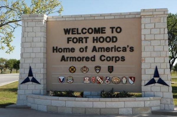 The main gate at the Army post in Fort Hood, Texas.