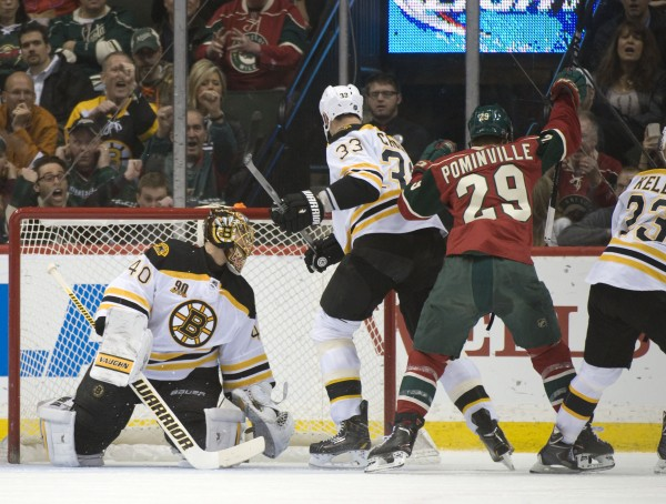 Minnesota Wild right Wing Jason Pominville (29) scores his second goal of the game on Boston Bruins goalie Tuukka Rask (40) tying the game at 2-2 in the first period at Xcel Energy Center in Saint Paul, Minn., Tuesday night.