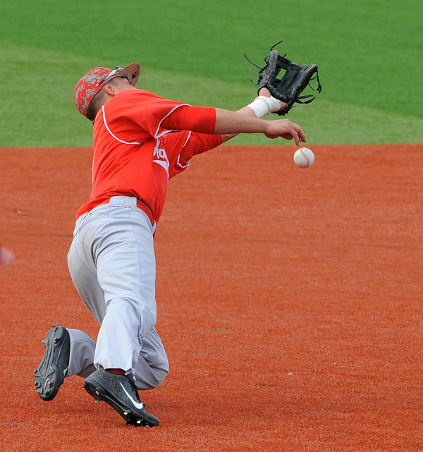 University of Hartford's Trey Stover fails to make the catch during a game against the University of Maine at the Mahaney Diamond in Orono on Monday afternoon.