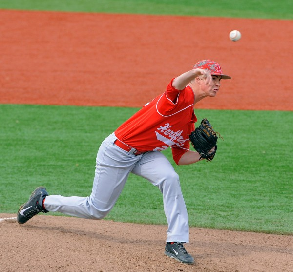 The University of Hartford's David Drouin pitches during a game against the University of Maine at Mahaney Diamond in Orono on Monday afternoon.