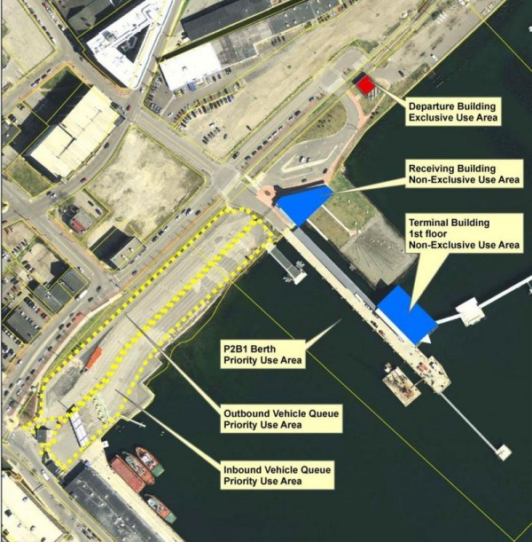 An overhead view of Portland's Ocean Gateway terminal, with areas designated for use by the Nova Star ferry.