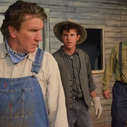 "Mike McFarland, Peter Coleman and Bryan Lescord in ""Of Mice and Men"""