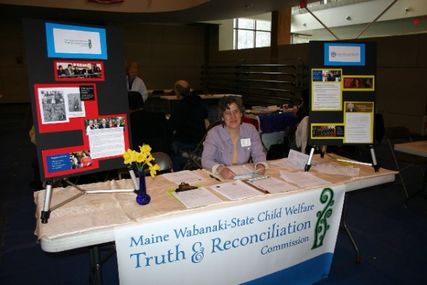 Barbara Kates, representing Maine Wabanaki-State Child Welfare Truth & Reconciliation Commission was just one of many staffing over 60 organizational tables networking for peace, justice, social and environmental issues around the state.