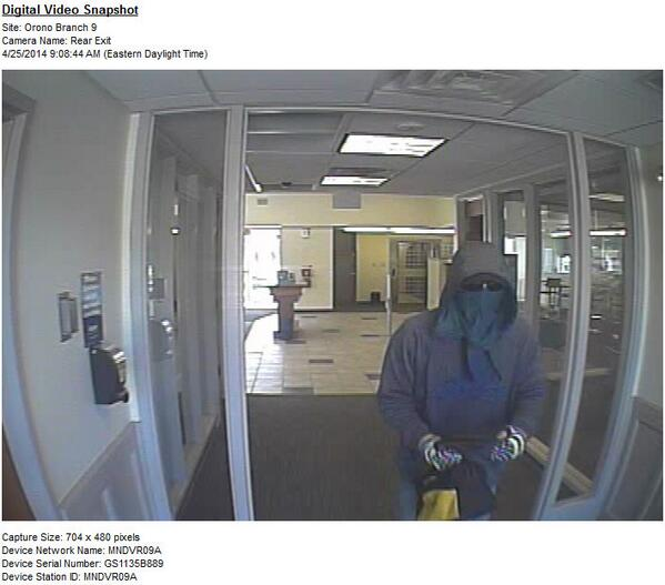 A surveillance image of the suspect in a robbery at Bangor Savings Bank on Park Street in Orono Friday morning.