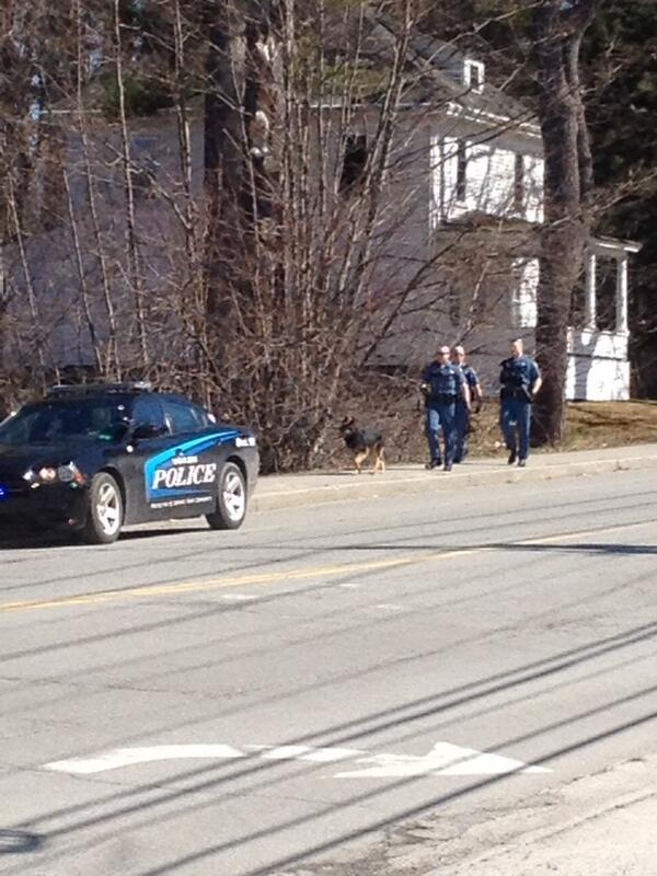 Maine State Police use a dog to try to track a suspect in a reported robbery at Bangor Savings Bank Friday morning.