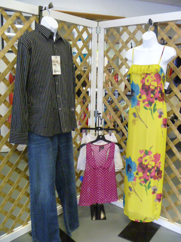 Women's and children's clothing — and now men's clothing — are displayed and sold at Charlotte Lorraine's, a consignment shop located at 15 Perkins St., Bangor. Clothing and handbags are artfully displayed on the walls of Charlotte Lorraine's.