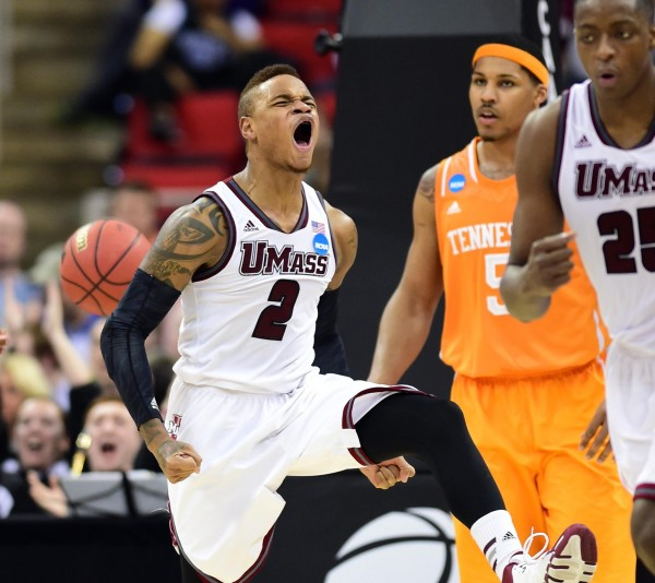 UMass Minutemen guard Derrick Gordon (2) reacts to a play against the Tennessee Volunteers in the second half of  second round NCAA Tournament game on March 21.