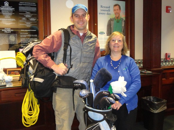 left to right: Davin O'Connell of Mount Desert Island Search and Rescue and Debbie Mitchell-Dow of Bar Harbor Bank & Trust invite you to participate in the 21st  Annual David R. Harding Memorial Charity Golf Tournament, to be played on Tuesday, June 3 at Kebo Valley Golf Course in Bar Harbor.  For more information, call Cathy Planchart, at Bar Harbor Bank & Trust, 667-0660 x4655.