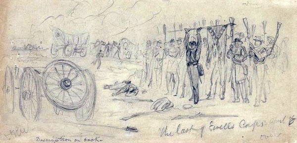 "After losing the hard-fought Battle of Sailor's Creek, Va. on April 6, 1865, Confederate soldiers commanded by Lt. Gen. Richard Ewell ""reverse their arms"" and surrender to victorious Union troops. This battle steered the Confederate army toward Appomattox Court House. Combat artist Alfred Waud sketched this drawing on the battlefield."