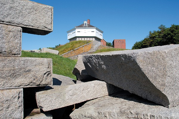 Scattered granite blocks mark the abandonment of work at Fort McClary, constructed in the 19th century to protect the Portsmouth Navy Yard and Kittery and Portsmouth, N.H., from enemy warships. Operated today as a state historic site, the fort includes the original hexagonal wooden blockhouse and the ruins of the barracks. Drawn from the Bangor area, Co. A of the Maine Coast Guards garrisoned Fort McClary in midsummer 1864.