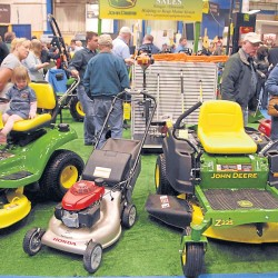 Power lawn-care equipment receives a lot of attention from the crowd during the 2013 Bangor Home Show, the last to be held in the Bangor Auditorium. The 44th annual Bangor Home Show will open for a three-day run at the Cross Insurance Center at 1 p.m, Friday, April 11.
