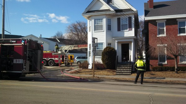Bangor firefighters extinguished a kitchen fire Thursday afternoon that shut down a busy section of Hammond Street for about 30 minutes. No one was hurt in the fire and residents of the three-unit apartment building are being assisted by the American Red Cross.