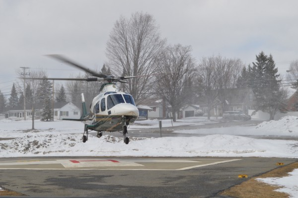 LifeFlight landed at TAMC around 1:00 p.m. today and will be stationed in Presque Isle throughout the day to provide emergency support as needed in local communities due to transportation issues resulting from area flooding.