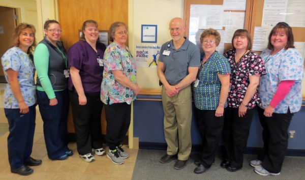In 2013, the Penobscot Valley Hospital laboratory team completed 93,669 tests, up 11,000 from 2012. Lab staff are committed to quality service for their patients and offer early bird testing starting at 6am, inpatient rounding to streamline care, and the pink tag program to minimize wait times.