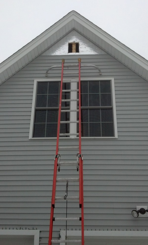 Earlier this past winter, the homeowners suddenly noticed water appearing inside their new house in Glenburn. The homeowners hired Orono-based One Stop Home Repair to solve the problem, which proved to be caused by inadequate attic ventilation. Construction professionals from One Stop Home Repair installed larger vents to ensure that moisture rising from inside the house is properly vented to the outdoors.