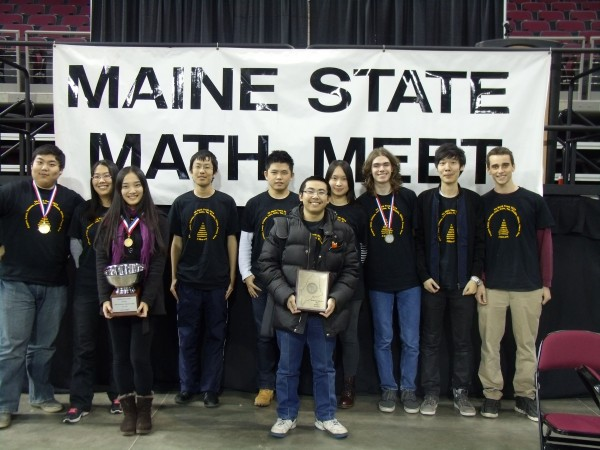 Members of the TA Math Team, who won third place at the State Meet (left to right): Zihan (Winkle) Qi '14, Zixin (Lori) Luo '14, Xinyi (Lucy) Chen '15, Tianyu (Sam) Zhou '15, Jiaming (Frank) Zhang '15, Tai Nguyen '16, Xiangyi (Olivia) Ye '14, Tristan Falardeau '16, Junjie (Caspar) Chen '14, Gabriel Nodarse '14.