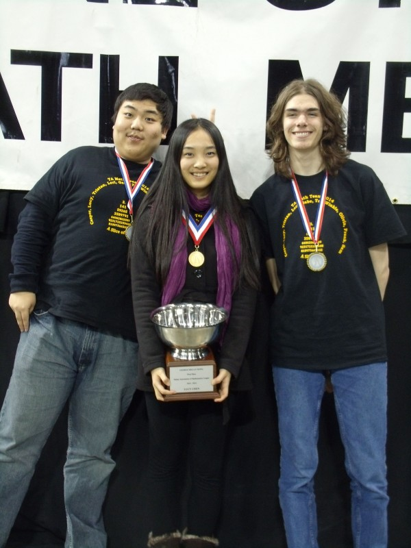 TA members who won individual awards include (left to right): Zihan (Winkle) Qi '14, Xinyi (Lucy) Chen '15, and Tristan Falardeau '16.