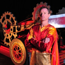 "Brian Miser, known as ""The Human Arrow,"" stands next to the crossbow that he built to launch himself at 65 miles per hour during performances of the 51st annual Anah Shrine Circus. Miser will be among the circus acts appearing May 2-4 at the Cross Insurance Center in Bangor."