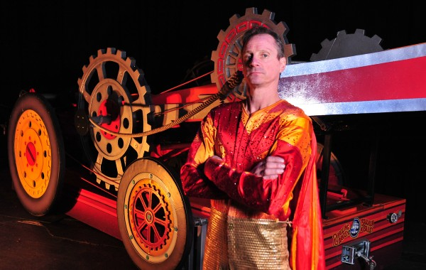 Brian Miser, known as &quotThe Human Arrow,&quot stands next to the crossbow that he built to launch himself at 65 miles per hour during performances of the 51st annual Anah Shrine Circus. Miser will be among the circus acts appearing May 2-4 at the Cross Insurance Center in Bangor.