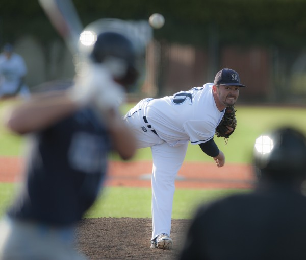 Maine pitcher Tommy Lawrence (36) delivers a pitch to the plate in the fourth inning of their game against NYIT at Mahaney Diamond in Orono, Maine, Friday, April 25, 2014.