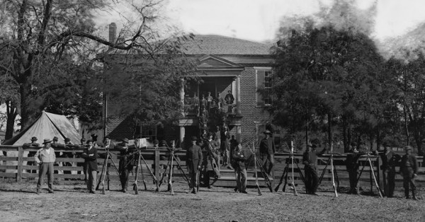 Photographer Timothy O'Sullivan captured for posterity these Union soldiers standing outside Appomattox Court House in Virginia soon after Robert E. Lee surrendered his Army of Northern Virginia on April 9, 1865.