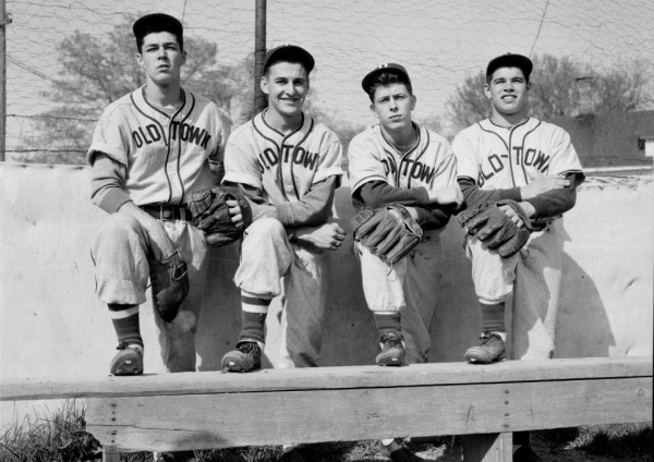 The Old Town Indians are a young, but hustling ball club this season and should give the opposition a lot of trouble in the remaining weeks. The Indians' infield will consist of (from left) Russ Godin at first, Dick Martin at second, Artie Miles at shortstop, and Gene Guerin at third. The players posed for the photographer on Monday, May 11, 1953.