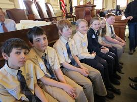 St. John Catholic School students on Jan. 30 served as Honorary Pages for the Senate, and on March 18, they served the House of Representatives. Here are (from left) Austin Soucy, Chris Phair, Adam Terry, Emilee Theriault, Sadie Irza, Elsie Suttie, Jake Suttie.